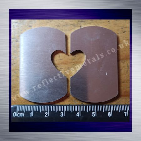 Large Dog Tag Set With Heart Cut Out